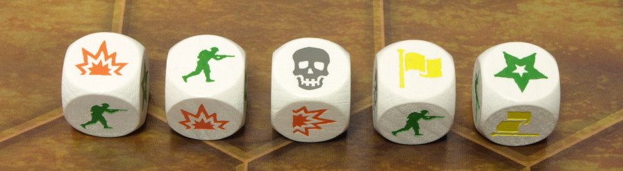 The 5 possible options when you roll the Battle dice